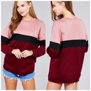 Color block cranberry & pink rose sweatshirt NWT